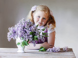 portrait smile girl with lilac