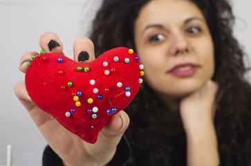 Heart shape pin cushion