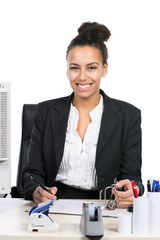 Junge Geschäftsfrau schreibt in einen Aktenordner