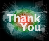The word thank you on business digital screen, social concept