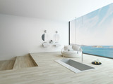Modern floor bathtub against huge window with seascape view