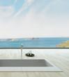 Fantastic floor bathtub against window with seascape view
