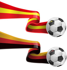 spain and germany flag with soccer ball