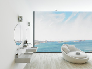White bathroom interior with double basin