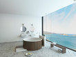 Design bathroom interior with modern round wooden bathtub