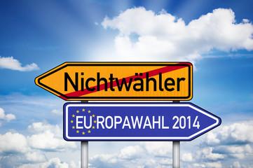 Wegweiser mit Nichtwähler und Europawahl 2014