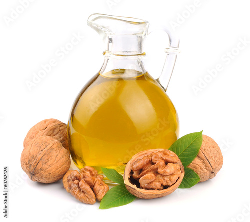 Walnuts oil and walnuts isolated