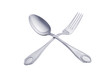Silver spoon and fork isolated on white background