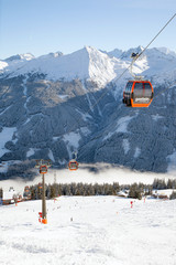 Ski lift in Austrian Alps, Ski amade region, Salzburgerland