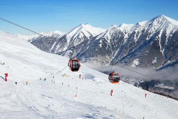Cableway in Bad Gastein ski region, Austrian Alps