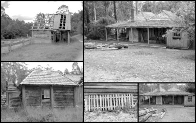 Historical montage of run down early pioneer homestead