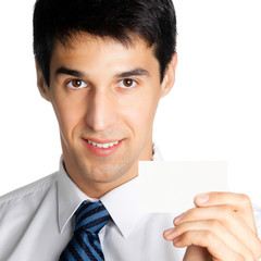 Businessman giving blank business card, isolated