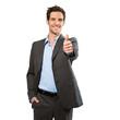 canvas print picture - Businessmann macht Daumen hoch