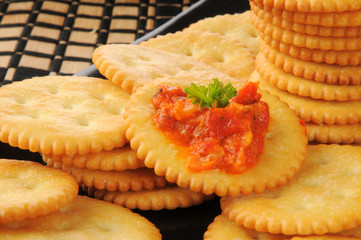 Crackers with bruschetta