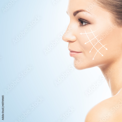Portrait of a beautiful and healthy woman on a plastic surgery