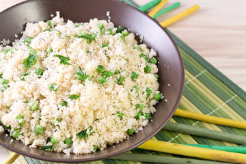 couscous with peas and fish