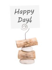Happy Day - Stein und Holz mit Schild isoliert