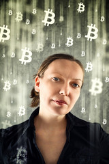 CoBusinesswoman collecting bitcoins