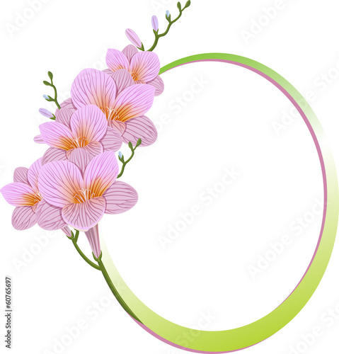 Flower frame. Flower borders, freesia