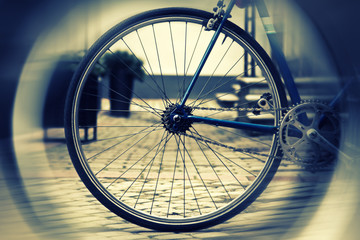 Blurred wheel of a vintage bike