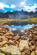 Scenic vertical view of a mountain lake in High Tatras, Slovakia