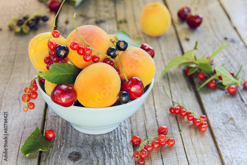 Assorted fruits and berries (apricots, cherry, black and red cur