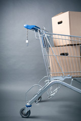 Shopping Cart with Brown Boxes