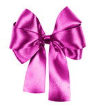 pink bow made from silk ribbon isolated
