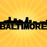 Baltimore skyline reflected with sunburst illustration