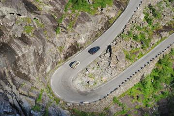 Serpentine road of Trollstigen in the Norwegian mountains.