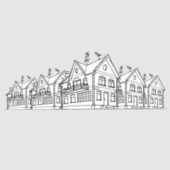Vector sketch of modern houses