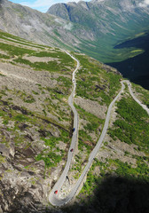 Mountain slope with serpentine road. Trollstigen.
