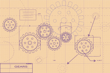 Purple Blueprint Layout Illustration