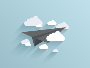 Vector flat origami airplane icon background. Eps10