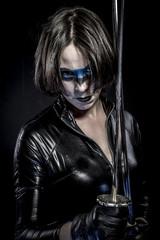 Japan, Girl with katana sword. dressed in black latex, comic sty
