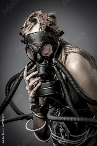 Toxic, gas mask, Female model, evil, blind, fallen angel of deat