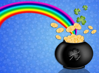 money on pot with rainbow for St. Patrick's Day