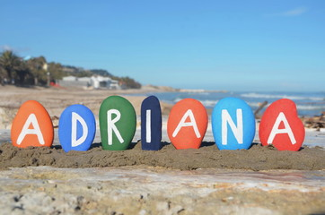 Adriana, female name on colourful stones