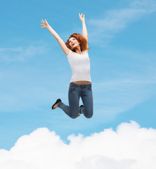 teenage girl in white blank t-shirt jumping