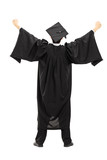 Full length portrait of graduate student with raised hands