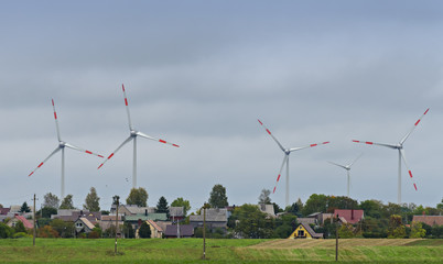 Modern electric wind stations in rural region of Lithuania