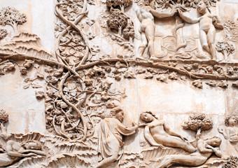 Cathedral Orvieto,  bas-reliefs garden of eden, italy