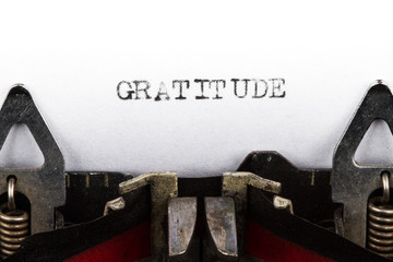 Typewriter with text gratitude