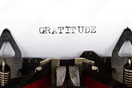Foto op Plexiglas Retro Typewriter with text gratitude
