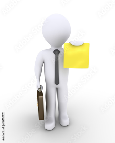 Businessman holding a small paper