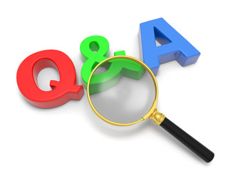 A magnifying glass Q&A sign