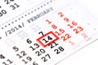 calendar with red mark on 14 February. Valentine's day