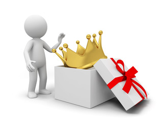 A big crown in a gift box