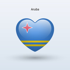 Love Aruba symbol. Heart flag icon.