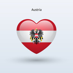 Love Austria symbol. Heart flag icon.